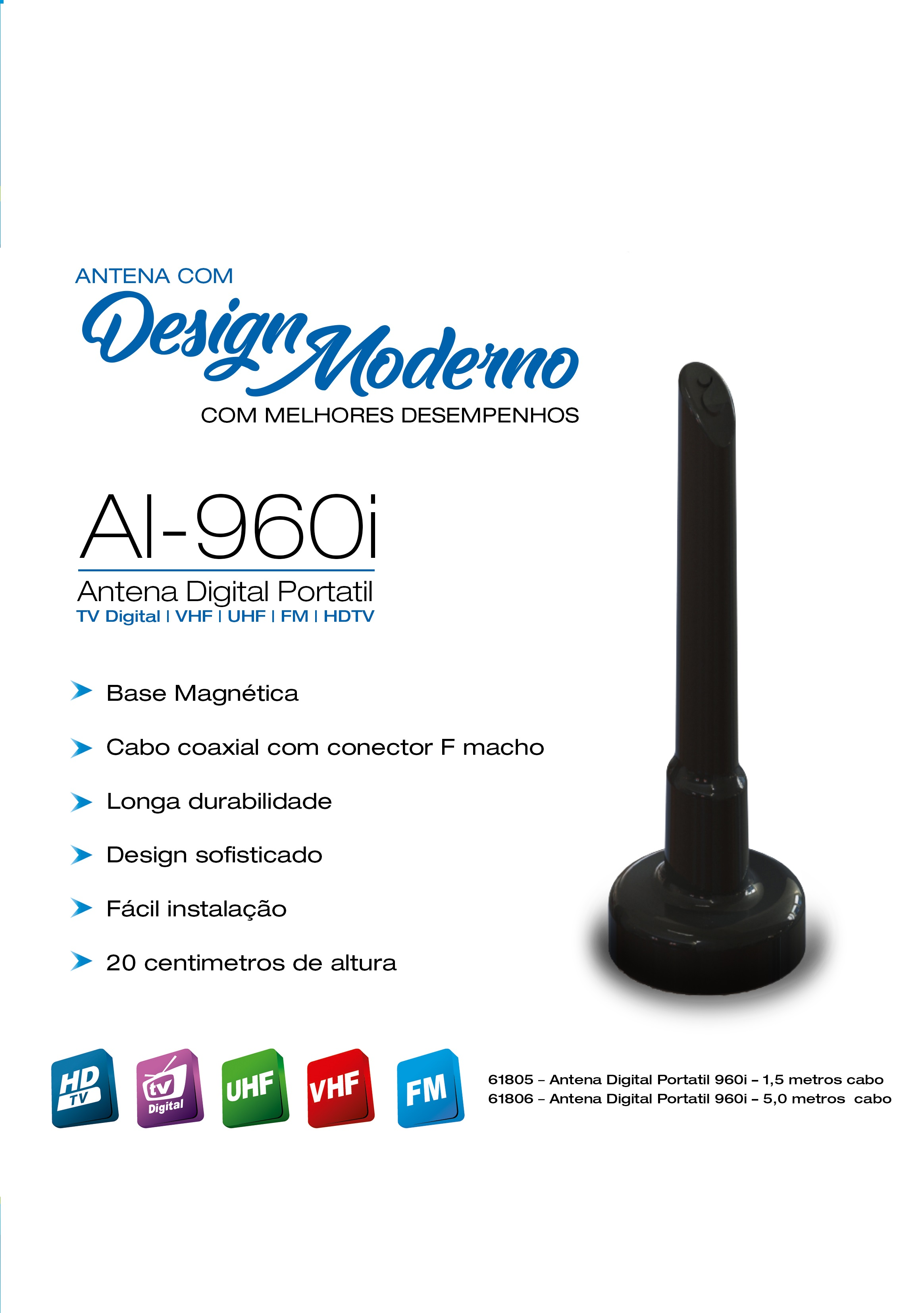 ANTENA TV INTERNA DIGITAL AI960I 1,5MT INDUSAT